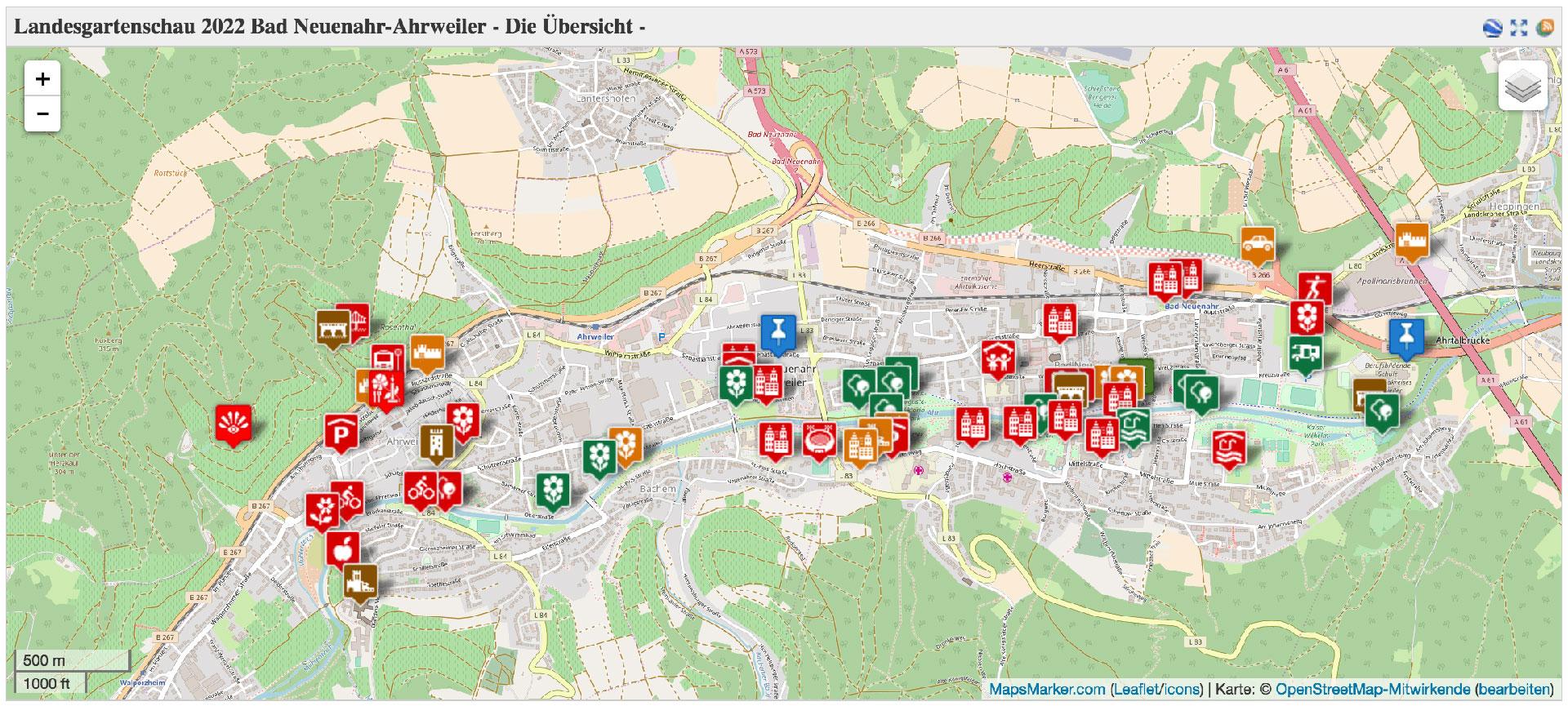Landesgartenschau 2022 in Bad Neuenahr-Ahrweiler, die interaktive Karte